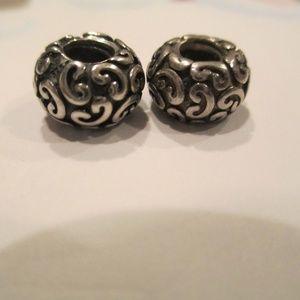 set of 2 Pandora Feeling Grovey Charm/Bead Silver
